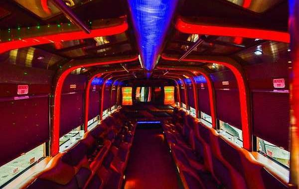 Limo Party Bus Trolly White for 40